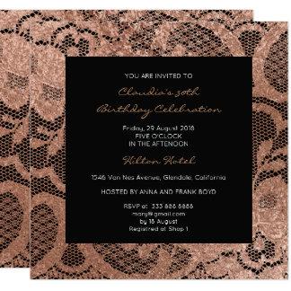 Het roze nam Foxier bloost Gouden VIP van de 13,3x13,3 Vierkante Uitnodiging Kaart