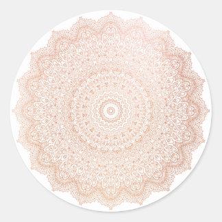 Het roze nam Goud bloost MetaalBloem Mandala toe Ronde Sticker