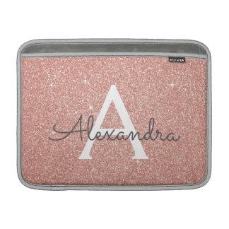 Het roze nam Goud schittert en fonkelt Monogram MacBook Air Beschermhoes
