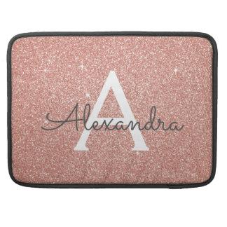 Het roze nam Goud schittert en fonkelt Monogram MacBook Pro Sleeve