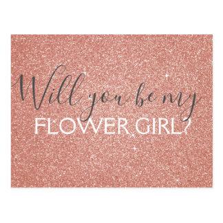 Het roze nam Goud schittert & fonkelt het Meisje Briefkaart