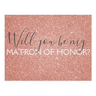 Het roze nam Goud schittert & fonkelt Matron van Briefkaart