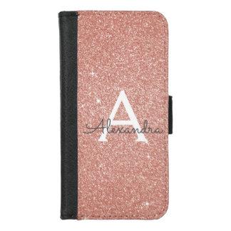 Het roze nam Goud schittert & fonkelt Monogram toe iPhone 8/7 Portemonnee Hoesje