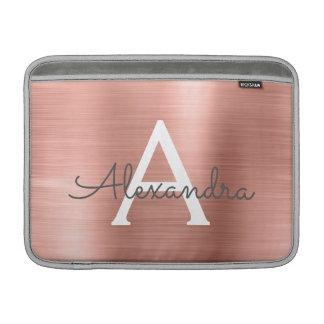 Het roze nam het Gouden Monogram van het Roestvrij MacBook Air Beschermhoes