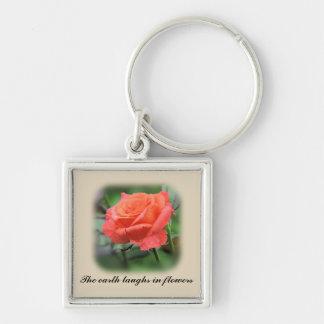 Het roze nam in volledige bloei toe sleutelhanger