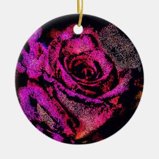 Het roze nam met Camille K toe Rond Keramisch Ornament