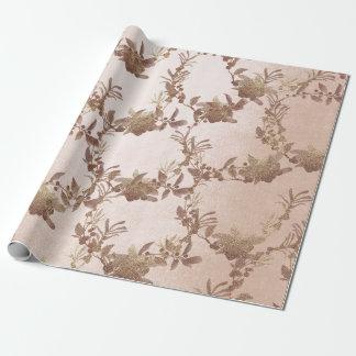 Het roze nam Open vlakte bloost Oude Gouden Kroon Inpakpapier