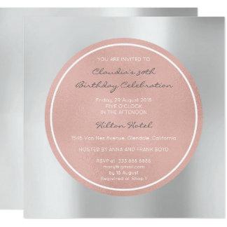 Het roze nam Parelachtig bloost Zilveren Grijze 13,3x13,3 Vierkante Uitnodiging Kaart