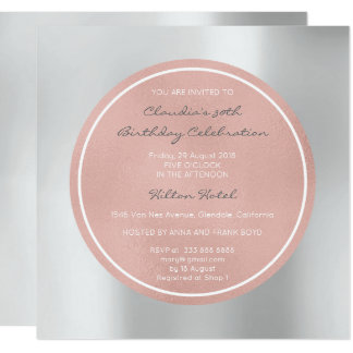 Het roze nam Parelachtig bloost Zilveren Grijze Kaart