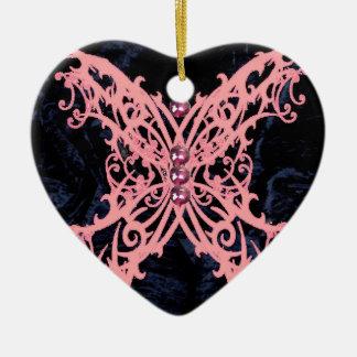 Het roze Ontwerp van het Fluweel van de Marine van Keramisch Hart Ornament