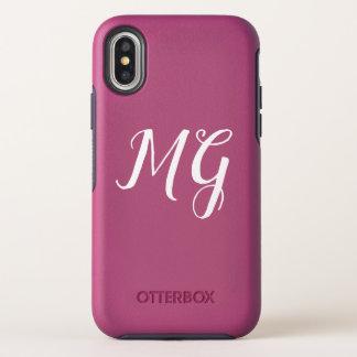 Het roze Ontwerp van het Monogram OtterBox Symmetry iPhone X Hoesje