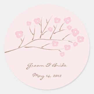 Het roze op Roze Kers komt Huwelijk tot bloei Ronde Sticker