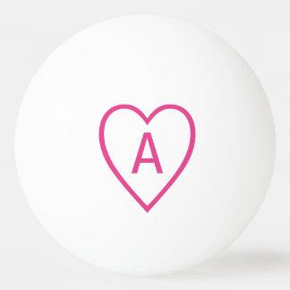 Het roze Overzicht van het Hart van Valentijn met Pingpongbal