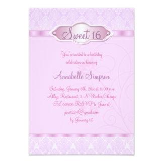Het roze/Paarse Damast & de Werveling Sweet16 12,7x17,8 Uitnodiging Kaart