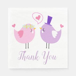 Het roze & Paarse Huwelijk van Dwergpapegaaien Papieren Servetten