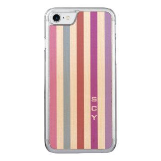 Het roze Paarse Monogram van de Strepen van de Carved iPhone 8/7 Hoesje