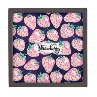 Het roze patroon van de Aardbei op paarse Premium Bewaar Doosje