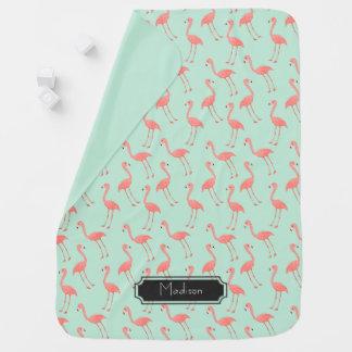 Het roze Patroon van de Flamingo met Voornaam Inbakerdoek