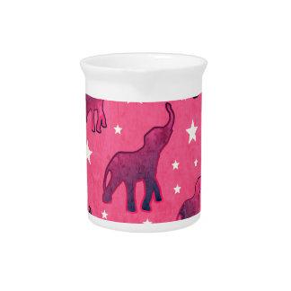 Het roze Patroon van de Sterren van Olifanten Drank Pitcher