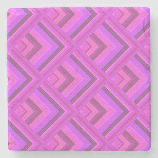 Het roze patroon van de strepenschaal stenen onderzetter