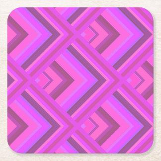 Het roze patroon van de strepenschaal vierkante onderzetter