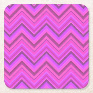 Het roze patroon van de strepenzigzag vierkante onderzetter