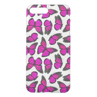 Het roze Patroon van de Vlinder van de Monarch iPhone 7 Plus Hoesje