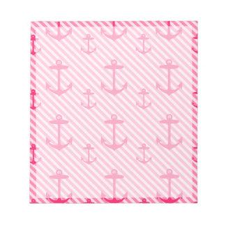 Het roze Patroon van het Anker Notitieblok