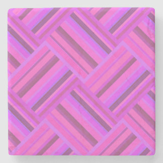 Het roze patroon van het strepen diagonale weefsel stenen onderzetter