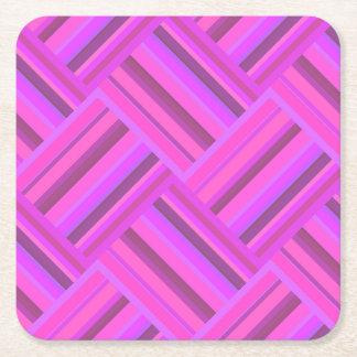 Het roze patroon van het strepen diagonale weefsel vierkante onderzetter