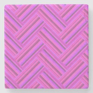 Het roze patroon van het strepen dubbele weefsel stenen onderzetter
