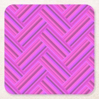 Het roze patroon van het strepen dubbele weefsel vierkante onderzetter