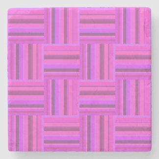 Het roze patroon van het strepenweefsel stenen onderzetter
