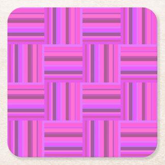 Het roze patroon van het strepenweefsel vierkante onderzetter