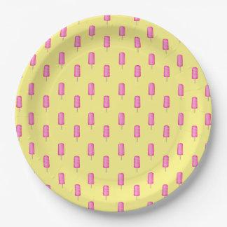 Het roze Patroon van Ijslollys Papieren Bordje