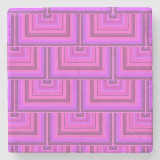 Het roze patroon van strepen vierkante schalen stenen onderzetter