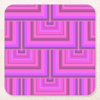 Het roze patroon van strepen vierkante schalen vierkante onderzetter