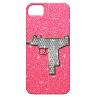 Het roze Pistool van Bling Uzi Barely There iPhone 5 Hoesje