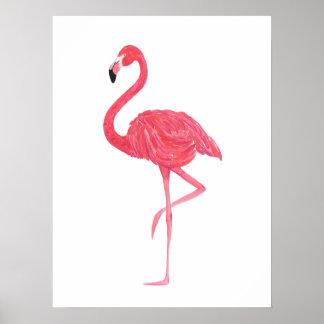 Het roze Poster van de Druk van de Flamingo van de