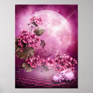 Het roze Poster van de Konijnen van Pasen