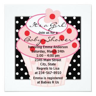 Het roze Roze Zwarte Baby shower van de Stip 13,3x13,3 Vierkante Uitnodiging Kaart
