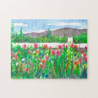 Het roze Schilderen van het Landschap van Legpuzzel