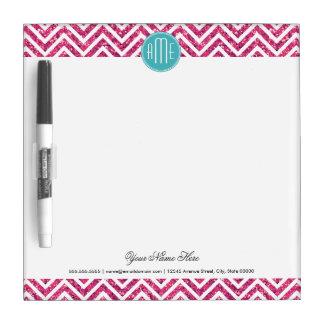 Het roze schitteren en het Monogram van de Douane Whiteboard