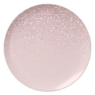 Het roze schittert de Meisjes van Girly van de Melamine+bord