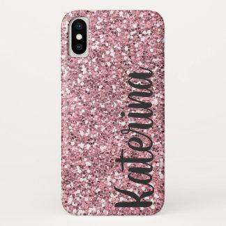 Het roze schittert Gepersonaliseerd met Uw Naam iPhone X Hoesje