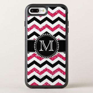 Het roze schittert, Zwarte Chevron, Taai, Met OtterBox Symmetry iPhone 8 Plus / 7 Plus Hoesje