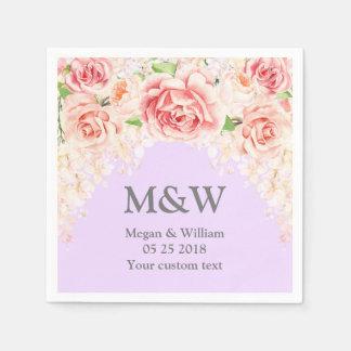 Het roze Servet van het Huwelijk van de Waterverf Papieren Servetten