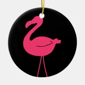 Het roze Silhouet van de Flamingo Rond Keramisch Ornament