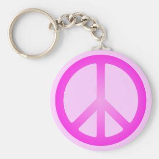 Het roze Symbool Keychain van de Vrede Sleutelhanger
