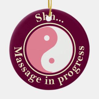 Het roze Teken van de Deur van de Massage van Yin Rond Keramisch Ornament